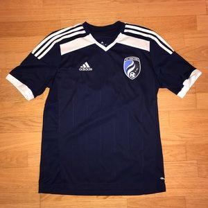 Adidas boys soccer shirt size Y 2xl blue